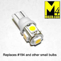 T10-5-5050-WW Warm White Small LED Light Bulb (#194 #168) with Wedge Base