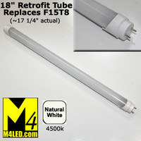 "T8-120-3528-18-NW (F15T8) Natural White 18"" T8 LED Tube Light 12v 4500k"