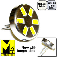 G4-6-5630-BACK-NW Natural White Elite Series Smallest G4 / T3  Samsung 5630 LEDs Rear Pins