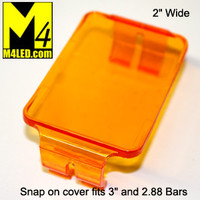 "Snap On Light Cover 2"" wide fits 3"" tall and smaller light bars AMBER"