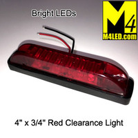 "4"" x 3/4"" Red LED Surface Mount Clearance Lights"