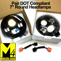"PAIR SAN6071-70B DOT Compliant Standard 7"" Round Headlights LED Replacement with Halo"