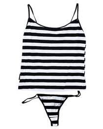 Black and White Stripe Thong Set