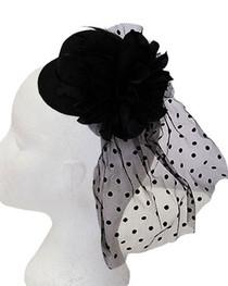 Black Flower Mini Burlesque Hat (6)