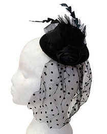 Black Rose Black Feather Mini Burlesque Hat (2)