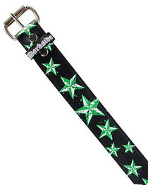 Black With Green Star Splat Printed Belt