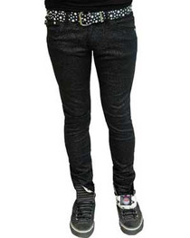 Black with Silver Glitter Low Rise Skinny Jeans