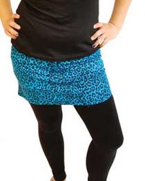 Blue Leopard Denim Mini Skirt