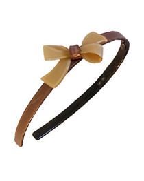 Brown with Cream Bow Resin Hairband