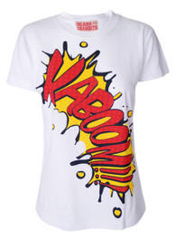 Cartoon Slogan Kaboom Womens T Shirt