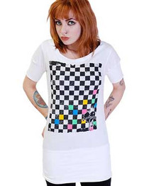 Checkerboard White Fitted T Dress