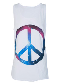 Cosmic Peace Sign White Vest