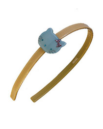Cream with Turquoise Kitty Resin Hairband