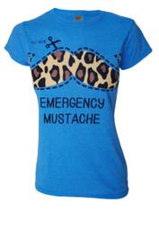 Emergency Moustache Womens Blue T Shirt