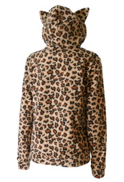 Fur Natural Leopard Kitty Hood