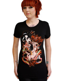 Geisha Fan Womens T Shirt