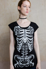 Glow in The Dark Skele Ribs Fitted T Dress