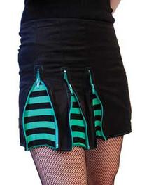 Green 3 Zip Skirt