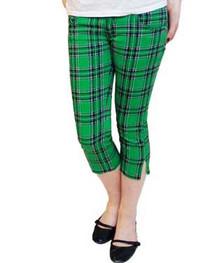 Green Tartan Capris Jeans Womens