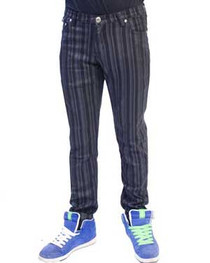 Grey and Black Stripe Regular Rise Skinny Jeans