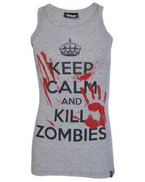 Keep Calm Kill A Zombies Grey Beater Vest