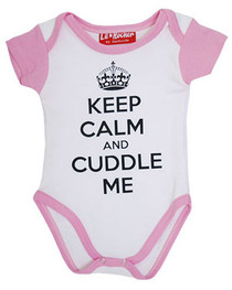 Keep Calm Mum and Cuddle Me Pink And White Baby Grow