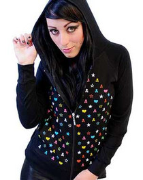 Multicoloured Skull Heart Skinny Hood