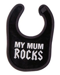 Mum Rocks Black Bib