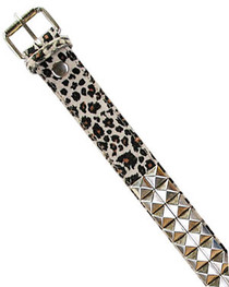 Natural Leopard Fur Pyramid Stud Belt  38mm