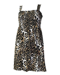 Natural Leopard Large Print Smock Dress