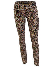 Natural Leopard Large Print Low Rise Skinny Jeans