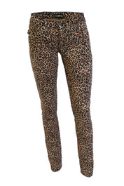 Natural Leopard Small Print Low Rise Skinny Jeans