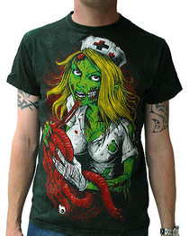 Nurse Zombie Wash Vintage T Shirt