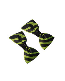 Pair Of Green Zebra Hairbows