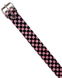 Pink Checkerboard Fur Belt 38mm