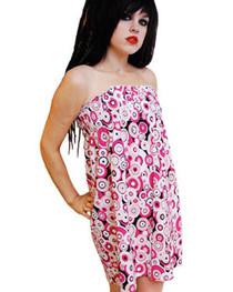 Pink Circle Strapless Dress