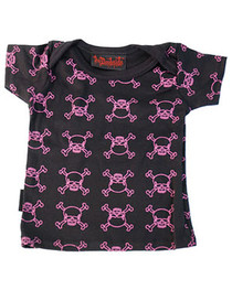 Pink Outline Skull Black Baby T Shirt