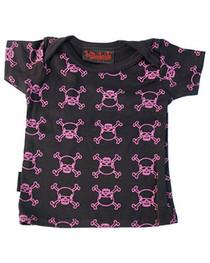 Pink Outline Skull Black Baby T Shirt