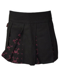 Pink Outline Skull Pleated Skirt