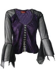 Purple Velvet Clip Up Top