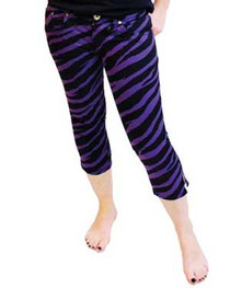 Purple Zebra Capris Jeans Womens