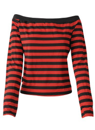 Red And Black Stripe Boat Neck Top