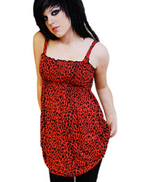 Red Leopard Small Print Smock Dress