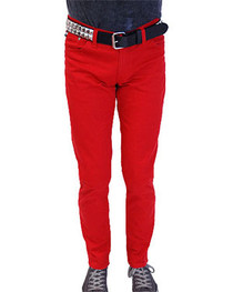 Red Regular Rise Stretch Jeans