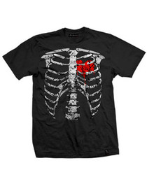 Red Ribs Black Mens T Shirt