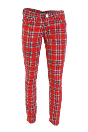 Red Tartan Low Rise Skinny Jeans