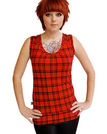 Red Tartan Thread Top