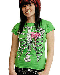 Ribs Green Womens T Shirt