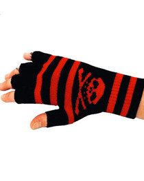 Short Black And Red Stripe Skull Gloves