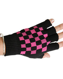 Short Black Gloves with Pink Checkerboard